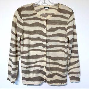 Jcrew zebra striped merino wool cardigan sweater
